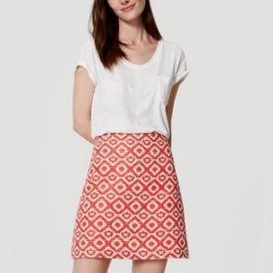 Loft Red Cream Tweed Geo Jacquard Skirt Size 8